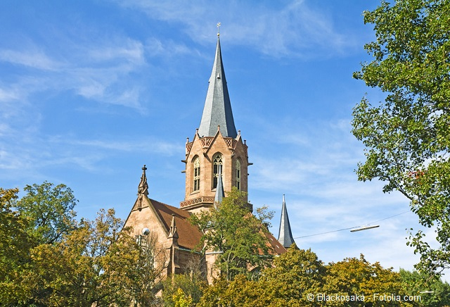 Die evangelische Christuskirche zu Karlsruhe.